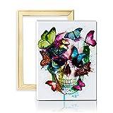 ufengke Kit Broderie Diamants Crâne de Papillon Mosaique Peinture Diamant Résine Rond 5D Point de Croix avec...
