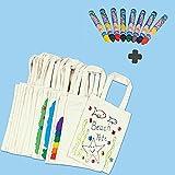 German Trendseller - 10 Sac en Coton + 8 Crayons Textiles┃pour la peinture┃ Give away