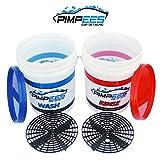 PIMPEES Seaux de Lavage Voiture x2 Wash & Rinse (20 litres) + 2 grilles Anti-remous (Grid Guard) - Format...