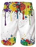 Loveternal Shorts de Conseil Hommes Summer Beach Shorts Peindre Maillot de Bain avec Poches Latérales S