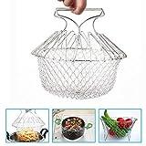 SunTop Tamis Cuisine Inoxydable Fry Extensible Chef Panier Cuisine Colander Magic Mesh Basket Strainer Net...