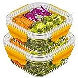 2-Compartiments Boîtes Alimentaires, Verre Boîtes de Conservation Hermétiques Récipients Alimentaires avec...