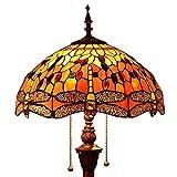 Bieye L30712 Lampadaire en vitrail de style Tiffany libellule avec un abat-jour fait main de 16 pouces de...