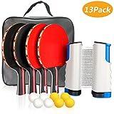Xddias Raquette de Ping Pong Professionnel Set, 4 Raquette de Tennis de Table + Rétractable Filet de Table...