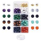 PandaHall Elite - 200PCS Perles de Lave Naturelles Pierre Naturelle et 100PCS Perles d'alliage pour la...