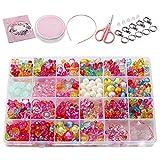 Wafly Coffret de Perles Enfants Fille,500 PCS Kit Fabrication de Bijoux Enfant, Perles Multicolores en...