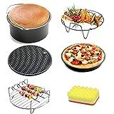 Kits 5 d'accessoires friteuse - Antiadhésive-Moules gâteau/Moule à pizza + Silicone Mat + Support en acier...