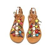 Dtuta Sandales, sandales à lacets pour femmes Chaussures plates de célébrités bohèmes Chaussures plates...