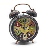 Reveil Mecanique, Cuitan Horloge Analogique avec Lumière de Nuit Sans Tic-Tac Double Cloche Mini Chevet Clock...