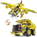 2-en-1 camion à benne basculante et avion bricolage bâtiment modèle défini assemblage de blocs de...