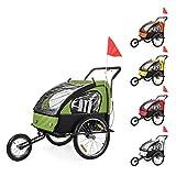 SAMAX Remorque Vélo convertible Jogger 2en1 Pour 2 Enfants Amortisseur Transport Poussette en Jaune/Noir -...