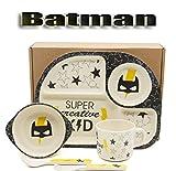 Fibre de Bambou Set de vaisselle pour enfants, Héros de Batman, 5 pièces, Service de vaisselle Couverts...