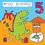 Twizler 5ème carte d'anniversaire pour enfant avec dinosaures fête et fini à yeux...