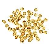 Sharplace 100Pcs Perles en Vrac Perlages Boutons Dos Plat Bijoux Fabrication DIY Bricolage - Doré