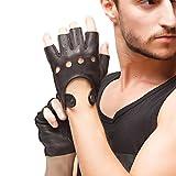 Nappaglo Homme Daim Cuir gants conduite 102% peau de daim sans doigts moto cyclisme riding cadeau