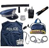 Born Toys Costume de Police de 11 pièces pour Enfants avec kit de Jeu de rôle pour Swat, détective, FBI,...