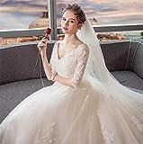 ELEGENCE-Z Robe de mariée, élégante mariée Mince col en V Dentelle à Manches Longues Style Europe et...