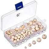 150 Pièces Perles de Bois Rond Naturel avec Boîte pour la Fabrication de Bijoux Bricolage, 5 Tailles (6 mm/...