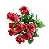 TAOtTAO Lot de 9 têtes de roses de soie artificielles en forme de fleur de mariée pour mariage Home Decor...