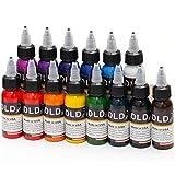 DLD haute qualité 14pcs encre de tatouage permanente 14 couleurs Microblading Pigment Set 1 Oz 30 ml/Kit de...