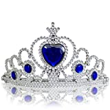 Katara 1682 Diadème pour filles, couronne argentée avec strass, diamants bleus foncés, tiare de costume