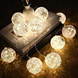 TAOtTAO Guirlande Lumineuse Ronde en Tissu 10 LED 20 LED 1,5 m 3 m, A 1.5m10led, 2.5m 6X Stars 6X Moon