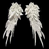 Kentop Patch Broderie Ecusson à Coudre Sticker Forme de Aile d'ange Grand Blanc Patch écusson décoratifs...