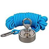Mutuactor combiné 400 kg double côtés vertical magnétique en néodyme Force Aimant de pêche avec corde de...
