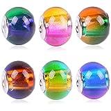 Rubyca - Assortiment de perles en verre de Murano dégradé arc-en-ciel - pour bracelets à breloque de style...