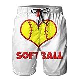 huibe J'aime Le Softball coloré Maillot de Bain à séchage Rapide avec Doublure en Maille,Taille XL