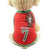 Équipe de football portugais 7 Jersey Vêtements pour animaux Vêtements pour animaux domestiques Gilets...