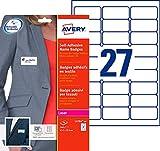 Avery 540 Badges Autocollants en Tissu - 63,5x29,6mm - Impression Laser - Blanc  (L4784)