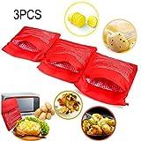 3 PCS Pomme de terre Poche à micro-ondes Pomme de terre Express Pouch Lavable Réutilisable Microwave Potato...