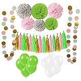 33 Pièces Parti Décoration Kit, Wartoon Ballons de Fête en Latex et Papier Tissu Pom Poms, Paquets Tassel...