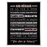 Atmosphera - Toile imprimée avec Cadre thème Les règles de la Vie à Deux 38 x 48 cm