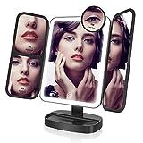 EASEHOLD Miroir Maquillage Lumineux LED Tri-Pli 21 LED 180° Batterie
