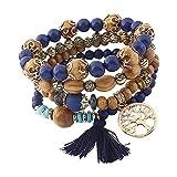Outflower Style Bohémien Bracelet Manuel Tissage Arbre de Vie Pendentif Gland Multicouche Élasticité...