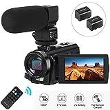 Caméscope Caméra Vidéo, Aabeloy Appareil Photo Numérique avec Microphone HD 1080p 24MP Zoom Numérique 16X...