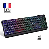 KLIM Chroma Clavier Gamer sans Fil AZERTY FRANÇAIS - Haute Performance - Clavier Éclairé Chromatique Gaming...