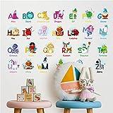 Bande Dessinée Drôle Animal Alphabet Chambre Des Enfants Maternelle Bébé Apprentissage Stickers Muraux...