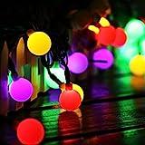 Guirlande Lumineuse Solaire 60 Petites Boule LED Étanche IP65, 10M Fil Souple 8 Modes Eclairage Décoration...