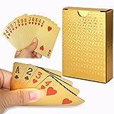 Cisixin 24K Feuille d'or de Poker - Jeu de Cartes plaquées Jeux de Table