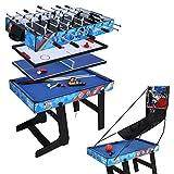 hj Table Multi Jeux 5 en 1 Pliante-Billard/Babyfoot/Hockey/Tennis de Table/Basketball 103.4 * 57.5 * 72cm...
