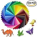 Sunerly Lot de 200 feuilles de papier origami 2 tailles, 50 couleurs vives recto pour travaux manuels, lot de...