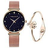 Montre Fille Femme, 3ATM imperméable de analogique Quartz Montres Bracelet pour Femmes avec de Maille d' en...