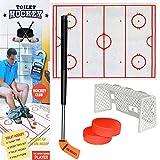 Transer Jeu de Hockey sur Toilette Jeu de Décompression Marrant Jeu Amusant de Hockey sur Glace