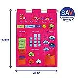 LUDI - Calendrier rose pour enfant dès 3 ans. Panneau en tissu brodé 53 x 38 cm. Accroche murale avec une...