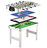Leomark Table 4 Jeux En 1 -Billard, Babyfoot, Hockey de Table et Ping-Pong  Babyfoot Table de Ping Pong Avec...