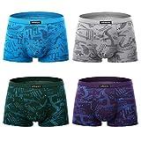 wirarpa Boxer Hommes Microfibre Lot de 4 Shorty Boxers Calecons Doux Ceinture Elastique Multipack Taille L