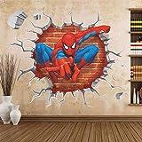 45 * 50cm chaud 3d trou célèbre bande dessinée film spiderman stickers muraux pour enfants chambres...
